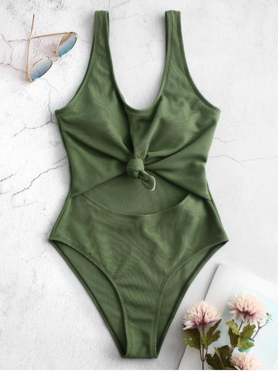 shops ZAFUL Ribbed Knotted Cut Out Swimsuit - SEAWEED GREEN M