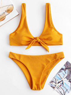 ZAFUL Verknotetes Strukturiertes Bikini- Set - Orange Gold M