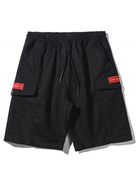 Pantalones cortos de apliques con cordón - Negro M Mobile