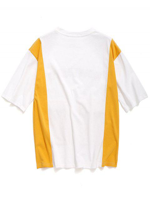sale Letters Print Covered Pockets Color Block T-shirt - WHITE 2XL Mobile