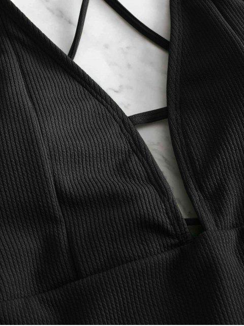 unique ZAFUL Lace-up Crisscross Ribbed Swimsuit - BLACK XL Mobile