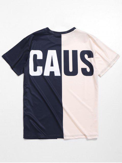 Camiseta de letras impresas en dos tonos - Multicolor L Mobile