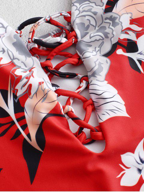 ZAFUL Lattice Bañador Floral Con Cordones - Multicolor-A S Mobile