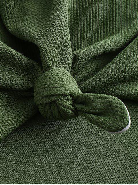 ZAFUL羅紋打結切出泳裝 - 海藻綠 M Mobile