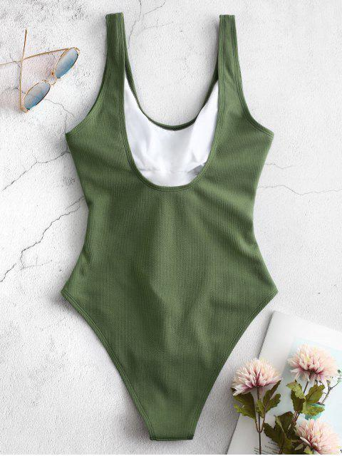 shops ZAFUL Ribbed Knotted Cut Out Swimsuit - SEAWEED GREEN M Mobile
