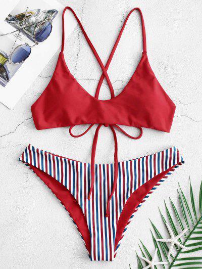 8a07d79cb5a9d ZAFUL Crisscross Scrunch Butt Reversible Bikini Set - Lava Red L