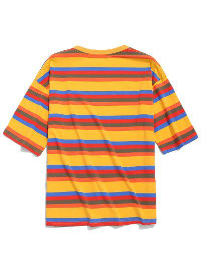 0ee1df50d ... Striped Print Short Sleeves Casual T-shirt - Bee Yellow 2xl
