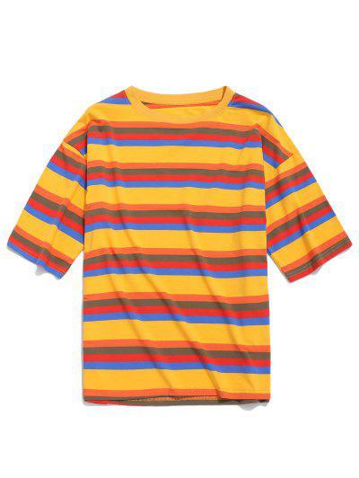 fde419a7d Camiseta Casual Manga Corta Estampada Rayas - Amarilla De Abeja M