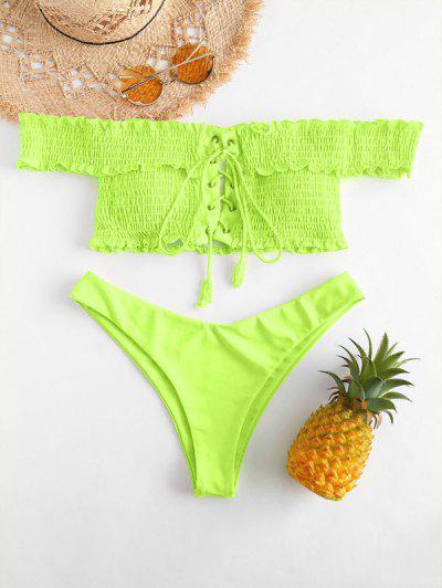 ZAFUL Shirred Lace-up Bardot Bikini Set - Tea Green M