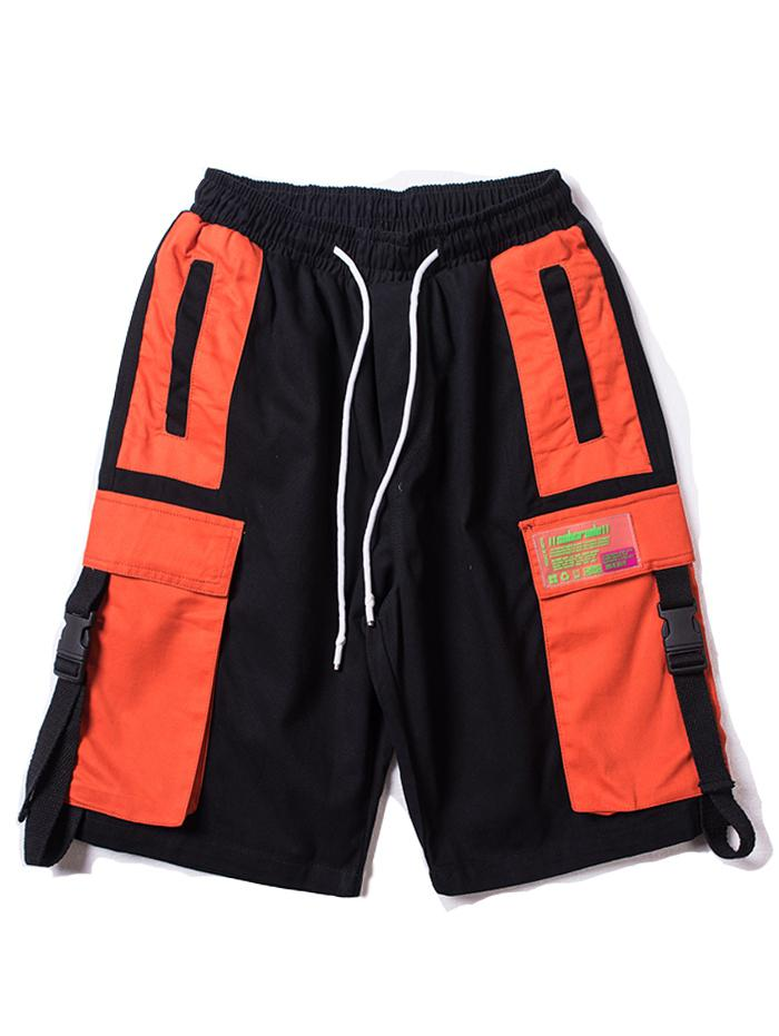 Color Block Applique Strap Pocket Casual Shorts