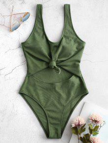 ZAFUL مضلع معقود قطع ملابس السباحة - الأعشاب البحرية الخضراء L