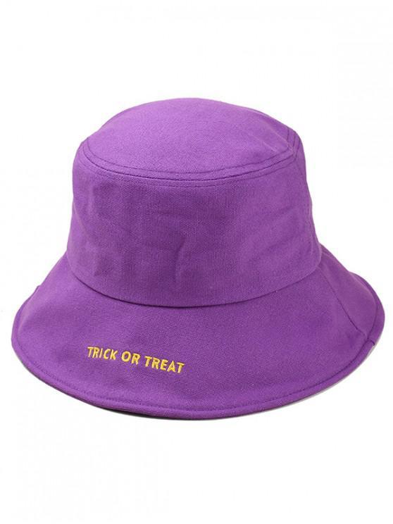 b541fad56b460 27% OFF  2019 Halloween Embroidery Letter Bucket Hat In PURPLE