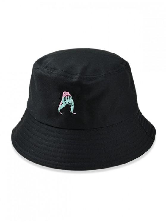 outfits Cartoon Embroidered Bucket Hat - BLACK f8b16692ca7d