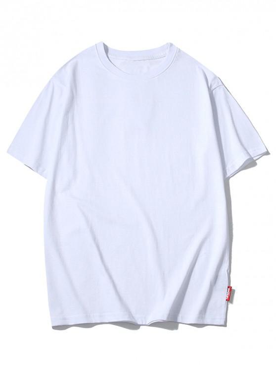 T-shirt neon a tinta unita casual a manica corta - Bianco M