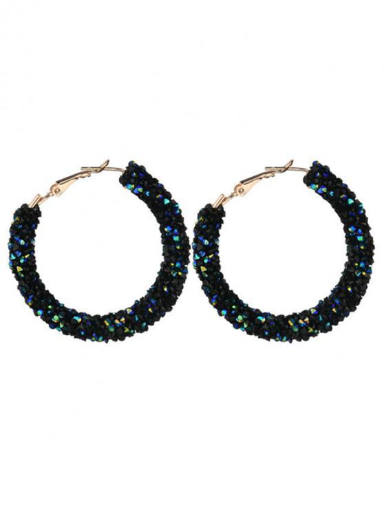 Boucles d'Oreilles Brillantes Perlées au Crochet en Alliage - Bleu Cadette