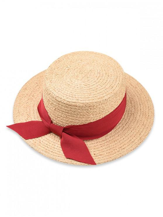 shops Bowknot Flat Top Straw Hat - RED