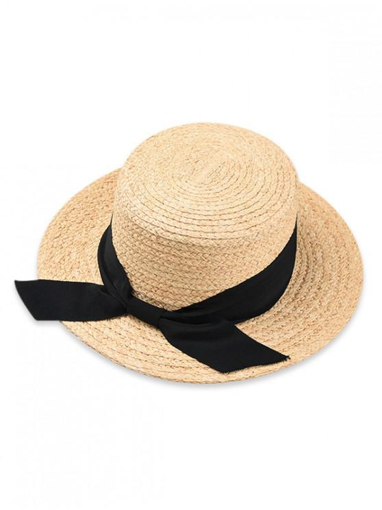 2e7505bfd76 28% OFF  2019 Bowknot Flat Top Straw Hat In BLACK