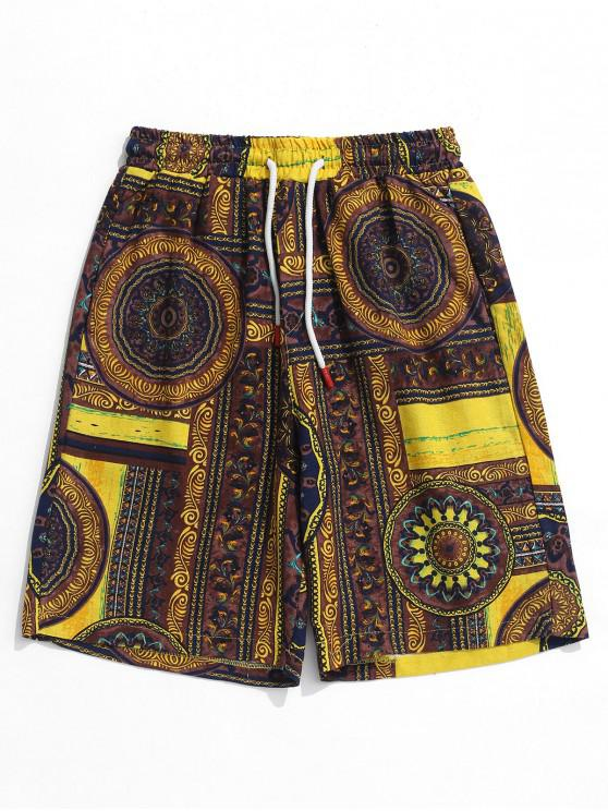 shops Flowers Tribal Print Elastic Casual Shorts - MULTI M