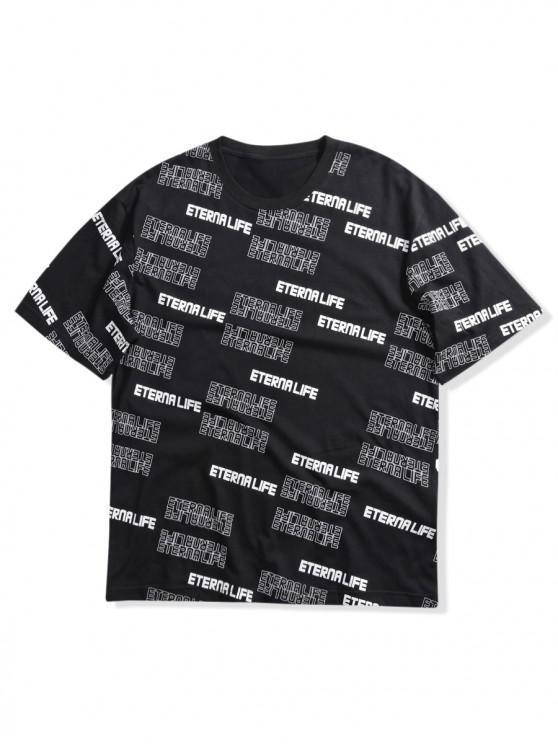 T-shirt Lettre Imprimée Partout à Manches Courtes - Noir L