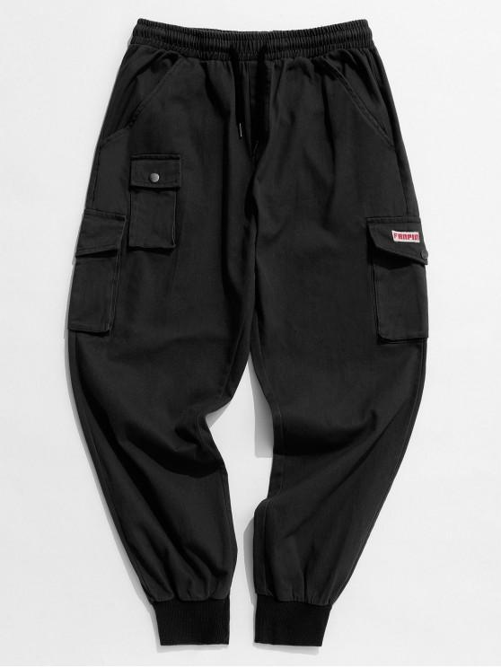 affordable Solid Color Applique Cargo Jogger Pants - BLACK L