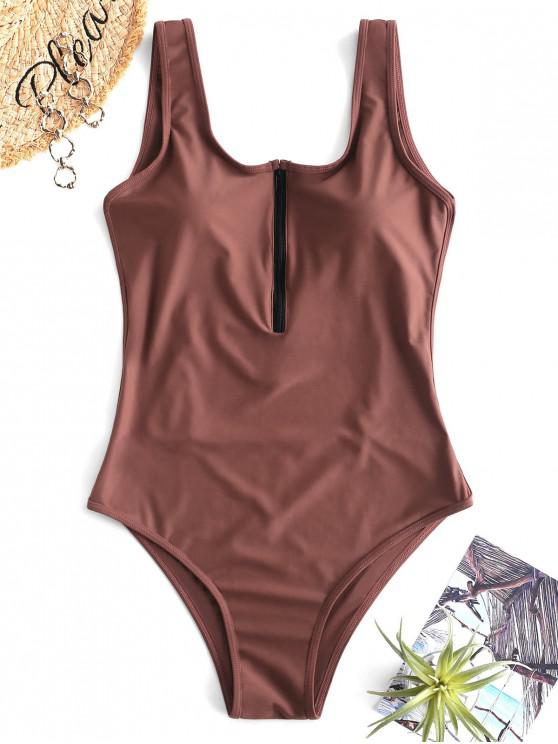 women's ZAFUL Backless Zipper Front Swimsuit - ROSY BROWN S