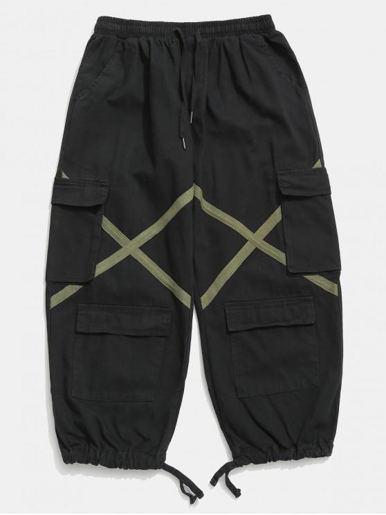 Pantalon cargo multi-poches avec cordon de serrage - Noir XL