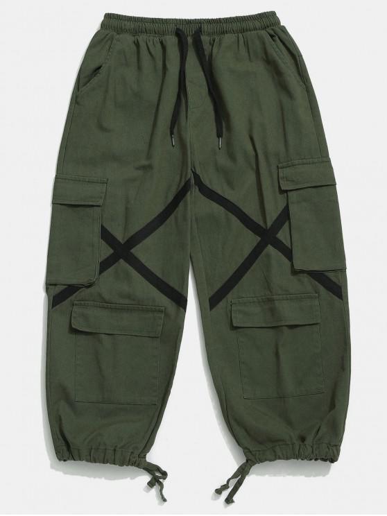Calças de carga com cordão multi bolso - Exército verde XL