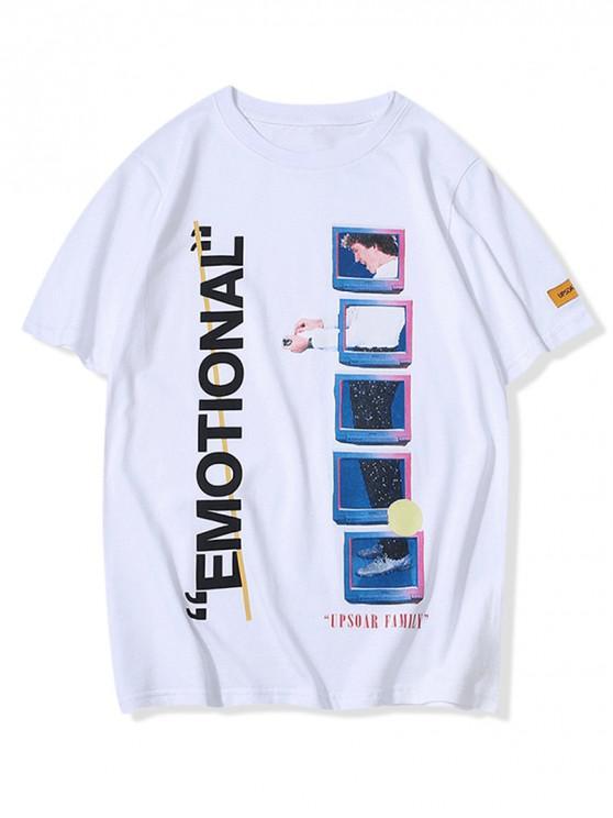 T-shirt graphique imprimé lettres géométriques - Blanc S