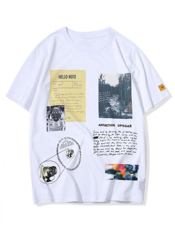 outfits Letters Landscape Graphic Print T-shirt - WHITE S