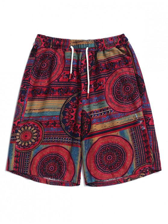 women Elastic Drawstring Flower Tribal Print Shorts - DARK CARNATION PINK L
