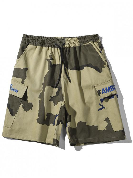 outfit Embroidery Letters Camouflage Print Casual Shorts - CAMOUFLAGE GREEN 2XL