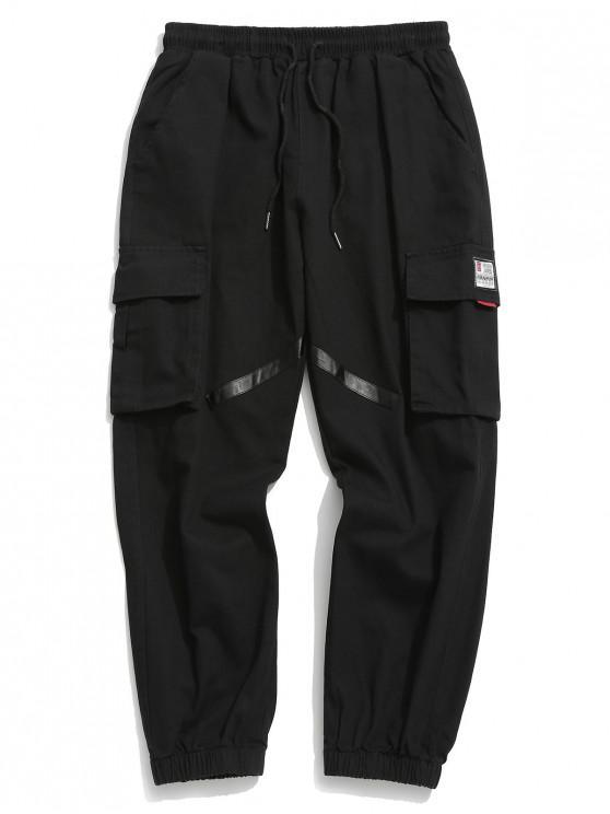 shops Applique Striped Pockets Drawstring Jogger Pants - BLACK S