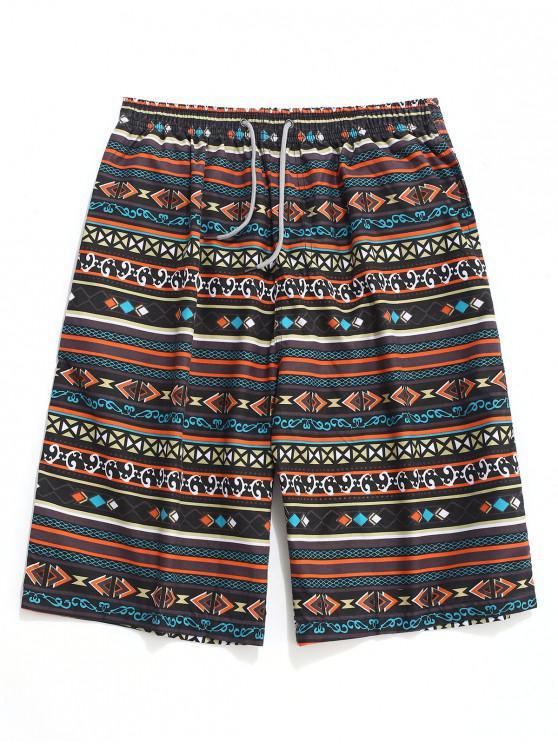 Geometrische Streifen Print Drawstring Beach Shorts - Multi XL
