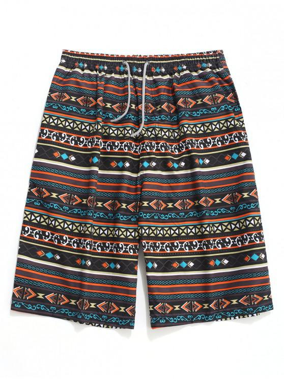 new Geometric Stripes Print Drawstring Beach Shorts - MULTI XS