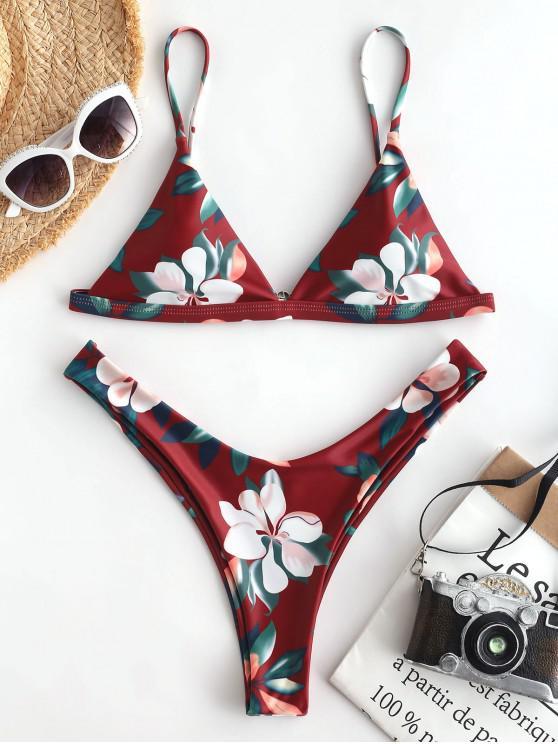 affordable ZAFUL Leaf Print High Leg Bikini Set - RED WINE L
