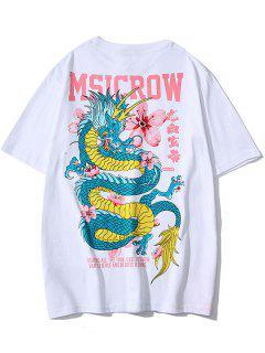 T-shirt Dragon Fleur Caractère Chinois Imprimé - Blanc L