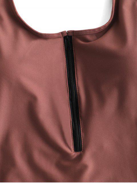 ZAFUL Купальники С Задней Молнией Спереди - Розово-коричневый XL Mobile