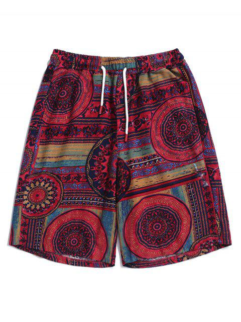 Pantalones cortos con estampado tribal de flores elásticos con cordón - Oscuro Clavel Rosa L Mobile
