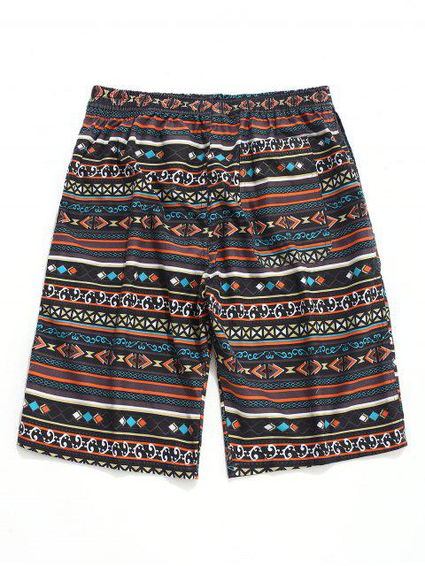 Shorts de playa con lazo estampado geométrico - Multicolor XL Mobile
