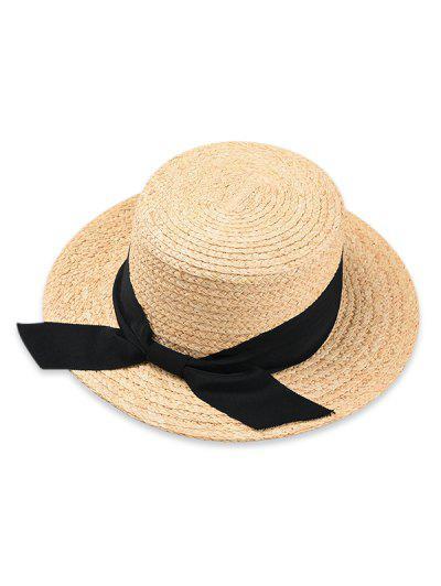 Sombrero De Paja Bowknot Con Parte Superior Plana - Negro 5ebff9a96c9