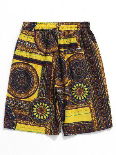 20372bb058a64 ... Flowers Tribal Print Elastic Casual Shorts - Multi L