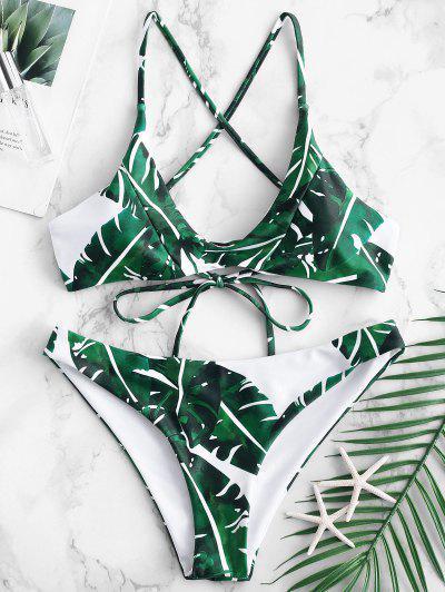 4c5c808649 ZAFUL Palm Leaf Criss Cross Bikini Set - Medium Sea Green M