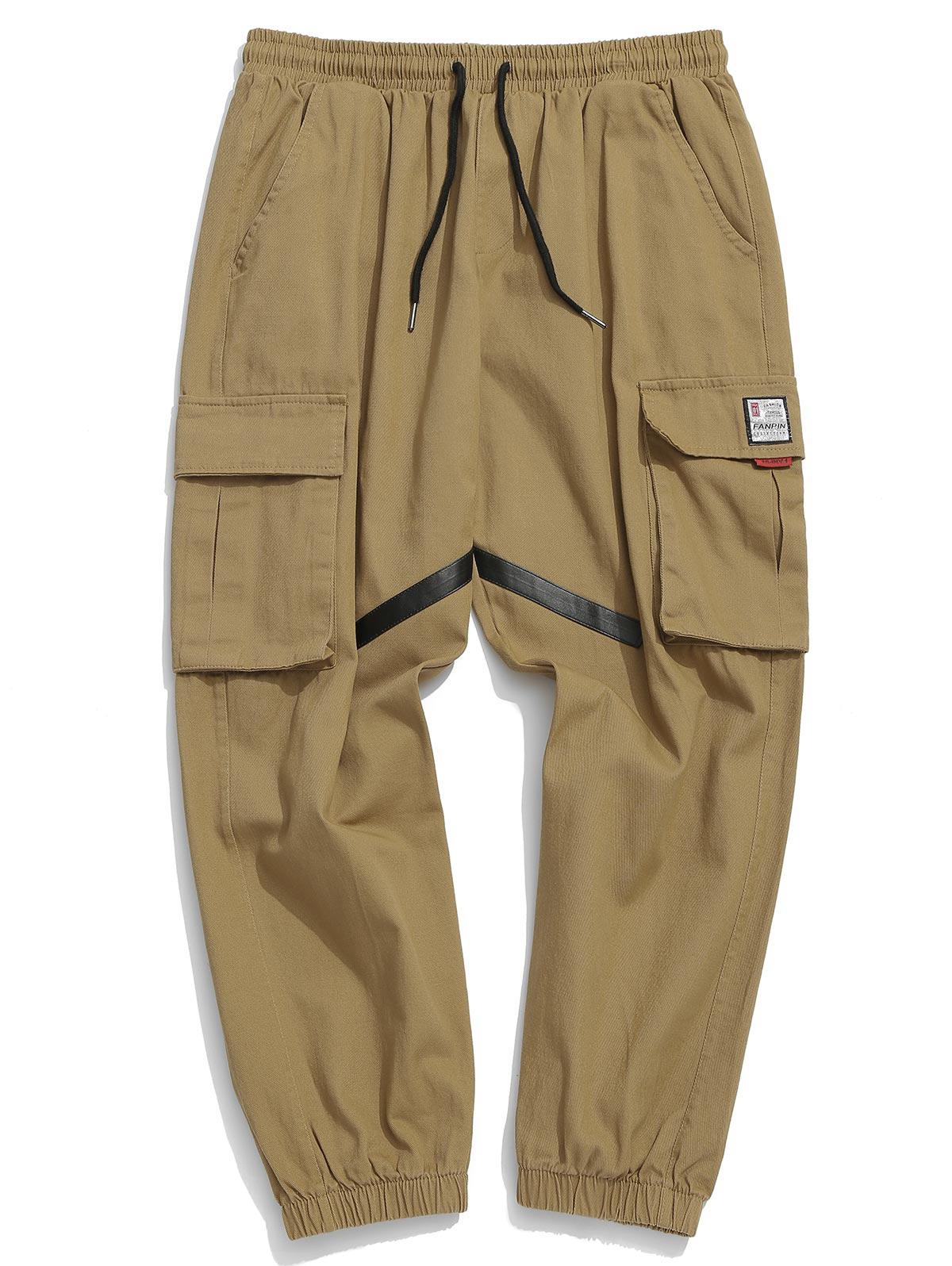 Applique Striped Pockets Drawstring Jogger Pants