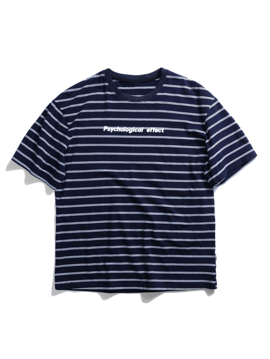 Allover Stripes Letters Print Casual T-shirt