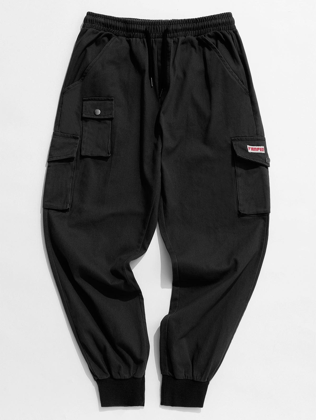 Solid Color Applique Cargo Jogger Pants