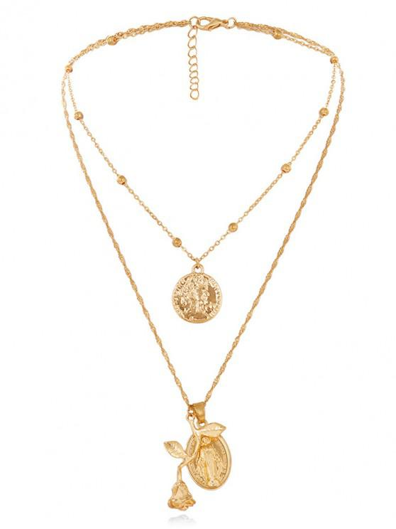 outfits Rose Layered Necklace - GOLD