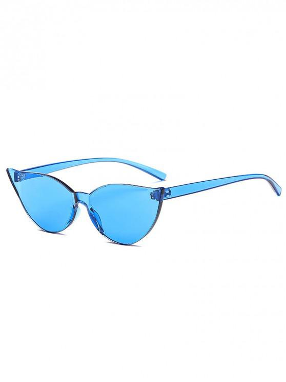 trendy Candy Color Catty Eyes Sunglasses - BLUE