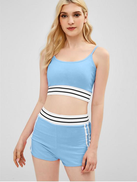 womens Sporty Cami Top and Shorts Two Piece Set - CRYSTAL BLUE M