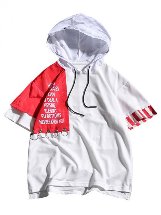 fancy Color Block Letters Print Hooded T-shirt - WHITE 2XL