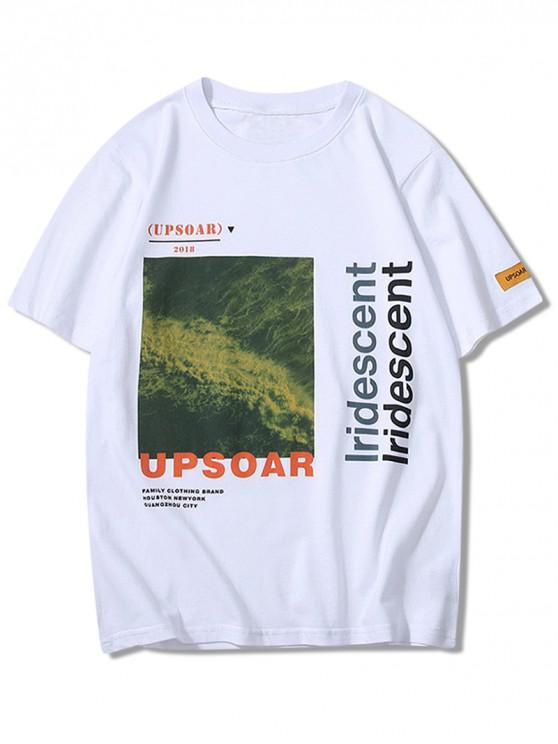 T-shirt à imprimé graphique décontracté avec lettres - Blanc XS